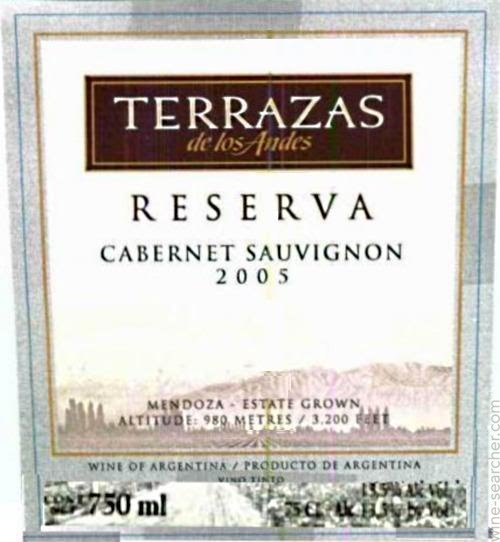 2005 Terrazas De Los Andes Reserva Cabernet Sauvignon Mendoza Argentina