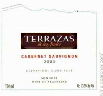 2003 Terrazas De Los Andes Reserva Cabernet Sa Prices