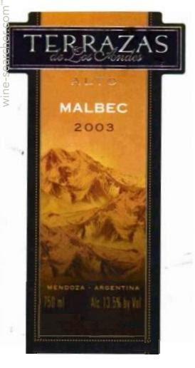 2003 Terrazas De Los Andes Reserva Malbec Mendoza Prices