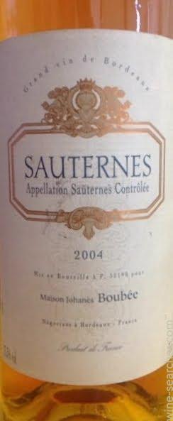 Maison Johanes Boubee Sauternes  prices, stores, tasting notes