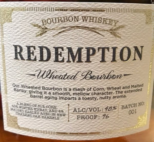 Redemption Wheated Bourbon Whiskey Usa