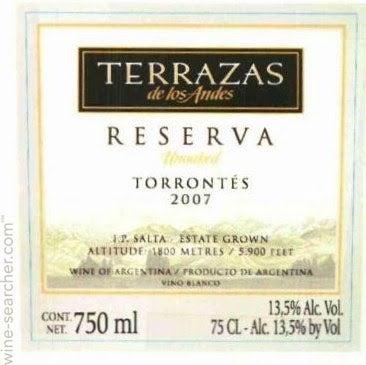 2015 Terrazas De Los Andes Reserva Unoaked Torrontes Salta Argentina
