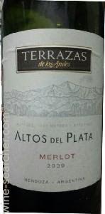 2015 Terrazas De Los Andes Altos Del Plata Merlot Mendoza Argentina