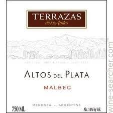 Terrazas De Los Andes Altos Del Plata Malbec Mendoza Argentina