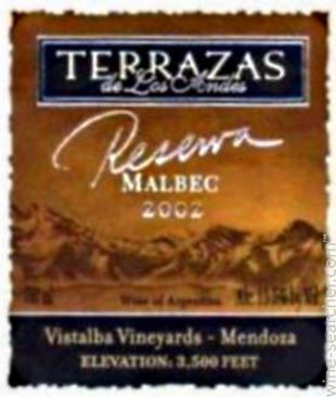 2002 Terrazas De Los Andes Reserva Malbec Mendoza Prices