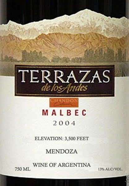2004 Terrazas De Los Andes Reserva Malbec Mendoza Tasting
