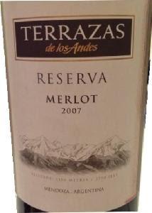 Terrazas De Los Andes Reserva Merlot Mendoza Argentina