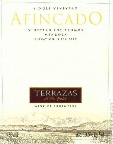 Terrazas De Los Andes Afincado Sin Tasting Notes