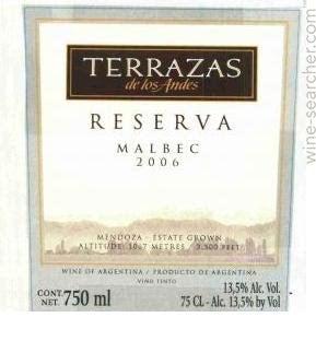2006 Terrazas De Los Andes Reserva Malbec Mendoza Prices