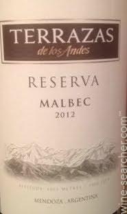 2012 Terrazas De Los Andes Reserva Malbec Mendoza Tasting