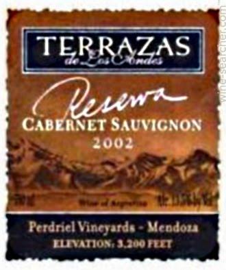 2002 Terrazas De Los Andes Reserva Cabernet Sa Prices
