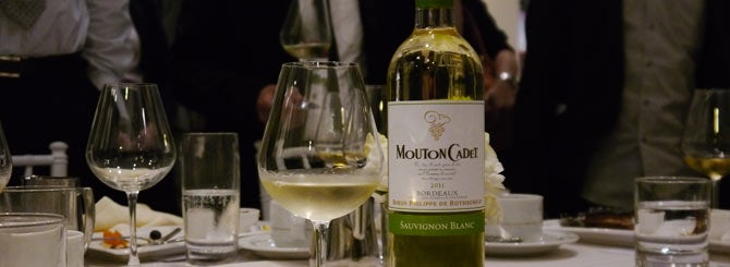 Mouton Cadet Sauvignon Blanc, set to launch worldwide in March next year, is offered to guests at Vinexpo Asia-Pacific, Hong Kong, 2012