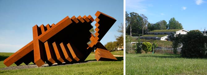 "(L-R) Marté Szirmay's ""Yantra for Mahana""; the turf roof of Woollaston Estates winery"