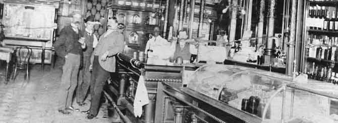 A photograph of Russian Jewish immigrant Mike Shurman's saloon, Atlanta, circa 1905