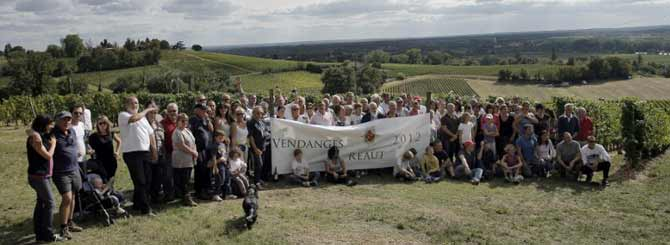 Château Réaut shareholders take a break from the harvest for a group photograph