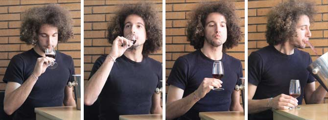 Mattia Nocentini demonstrates the four stages of wine tasting: sniffing, sipping, swirling, spitting