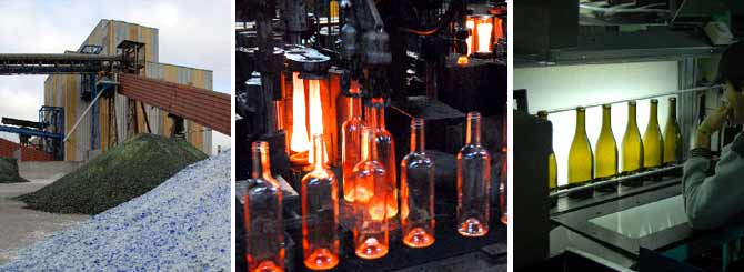Recycled bottles being made and tested at the Verallia plant