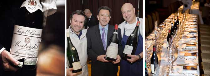 L-R: A Joseph Drouhin jeroboam; Daniel Johnnes (C) with chefs Michel Troisgros and Tom Colicchio; the table awaits