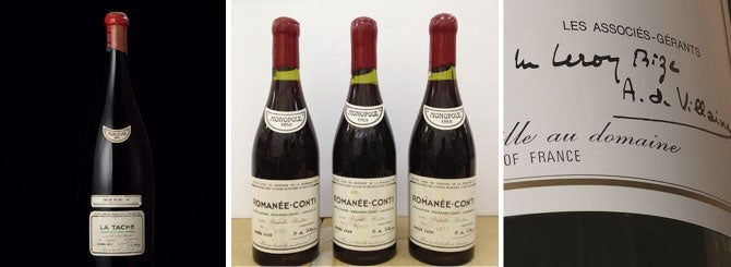 L-R: This methusaleh of 1971 La Tâche was withdrawn; the three bottles of 1959 Romanee-Conti; the disputed 1978 DRC Montrachet label