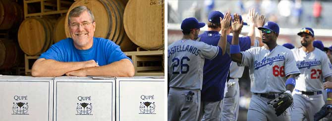 L-R: Bob Lindquist at Qupe; another win for the LA Dodgers this season